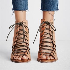 Lace-up peep-toe booties